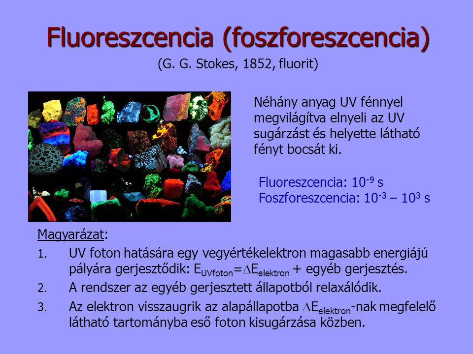 Fluoreszcencia (foszforeszcencia) (G. G. Stokes, 1852, fluorit) Néhány anyag UV fénnyel megvilágítva elnyeli az UV sugárzást és helyette látható fényt