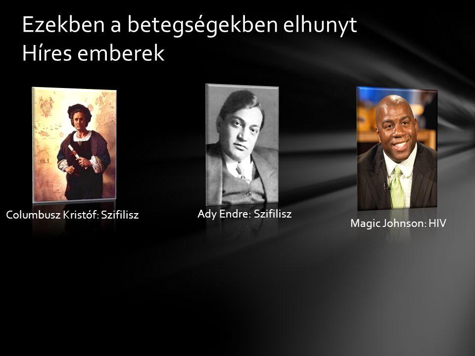 Ezekben a betegségekben elhunyt Híres emberek Columbusz Kristóf: Szifilisz Ady Endre: Szifilisz Magic Johnson: HIV