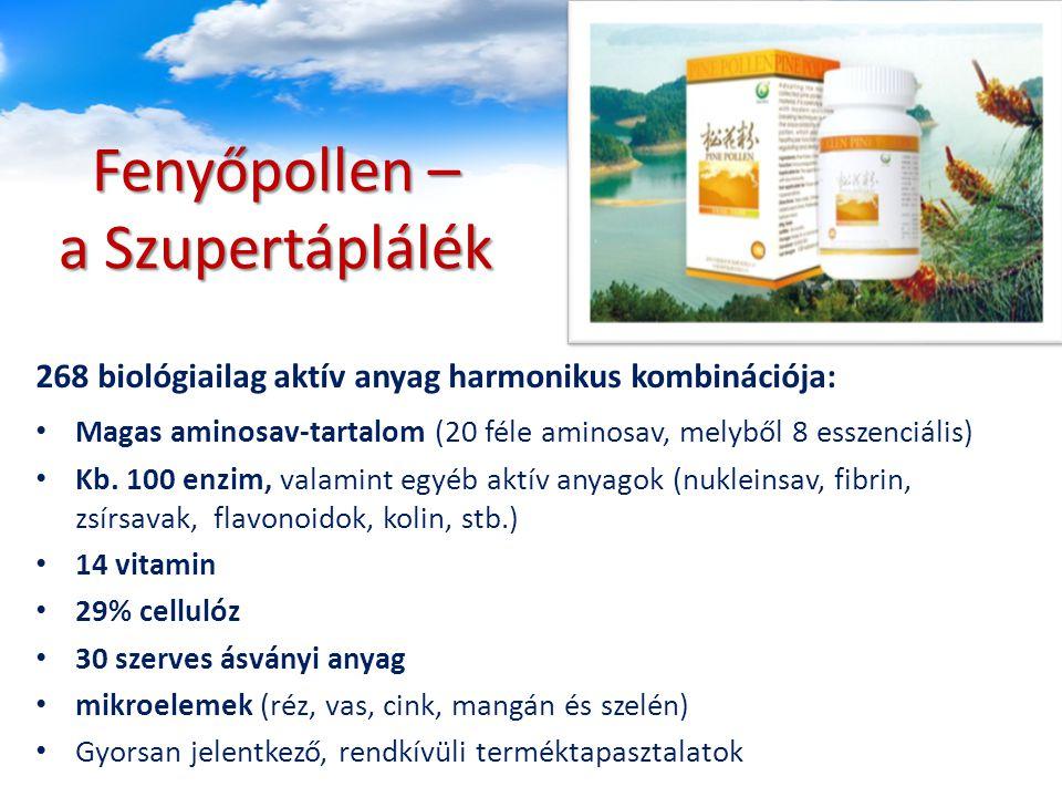 Fenyőpollen – a Szupertáplálék Magas aminosav-tartalom (20 féle aminosav, melyből 8 esszenciális) Kb.