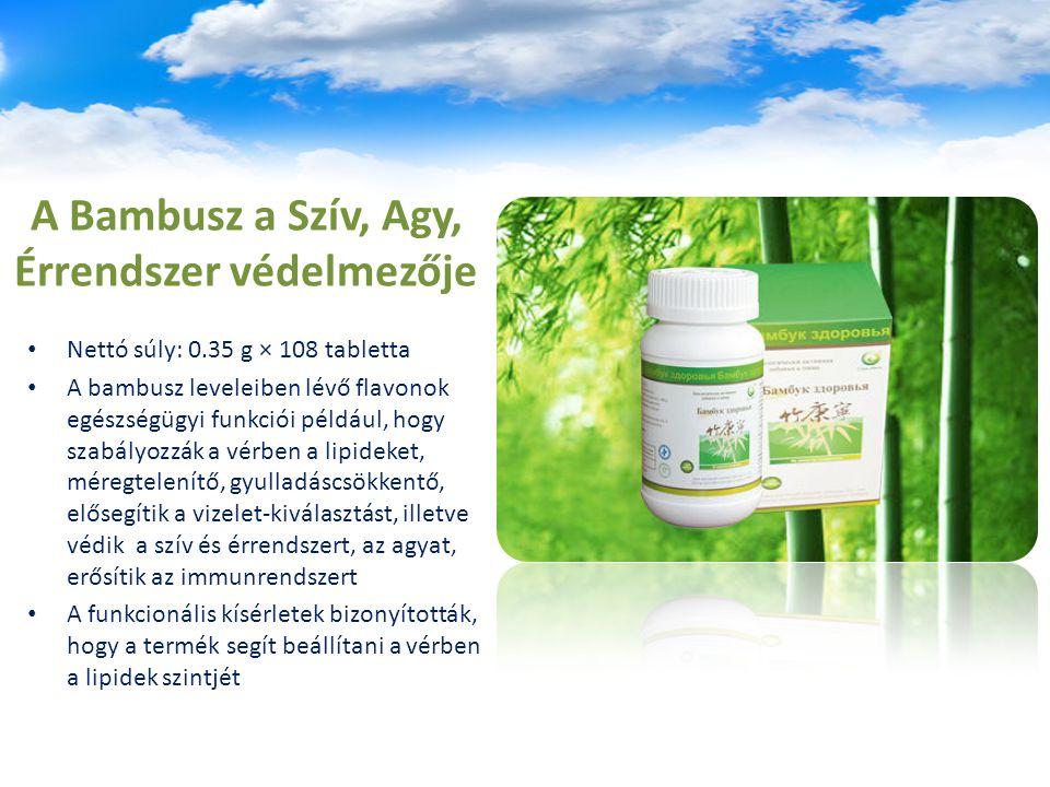 A Bambusz a Szív, Agy, Érrendszer védelmezője Nettó súly: 0.35 g × 108 tabletta A bambusz leveleiben lévő flavonok egészségügyi funkciói például, hogy szabályozzák a vérben a lipideket, méregtelenítő, gyulladáscsökkentő, elősegítik a vizelet-kiválasztást, illetve védik a szív és érrendszert, az agyat, erősítik az immunrendszert A funkcionális kísérletek bizonyították, hogy a termék segít beállítani a vérben a lipidek szintjét