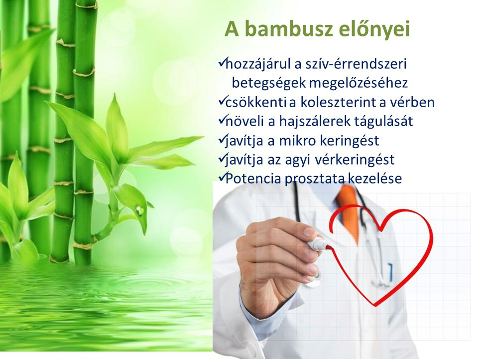 A bambusz előnyei hozzájárul a szív-érrendszeri betegségek megelőzéséhez csökkenti a koleszterint a vérben növeli a hajszálerek tágulását javítja a mikro keringést javítja az agyi vérkeringést Potencia prosztata kezelése
