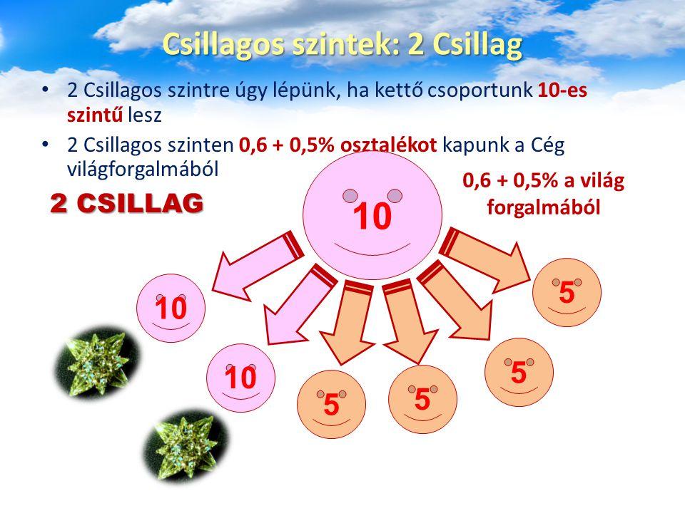 2 Csillagos szintre úgy lépünk, ha kettő csoportunk 10-es szintű lesz 2 Csillagos szinten 0,6 + 0,5% osztalékot kapunk a Cég világforgalmából Csillagos szintek: 2 Csillag 10 5 5 5 5 0,6 + 0,5% a világ forgalmából 2 CSILLAG