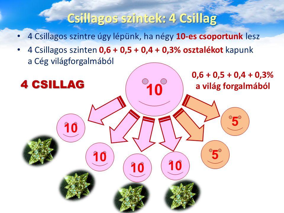 4 Csillagos szintre úgy lépünk, ha négy 10-es csoportunk lesz 4 Csillagos szinten 0,6 + 0,5 + 0,4 + 0,3% osztalékot kapunk a Cég világforgalmából Csillagos szintek: 4 Csillag 10 5 5 0,6 + 0,5 + 0,4 + 0,3% a világ forgalmából 4 CSILLAG