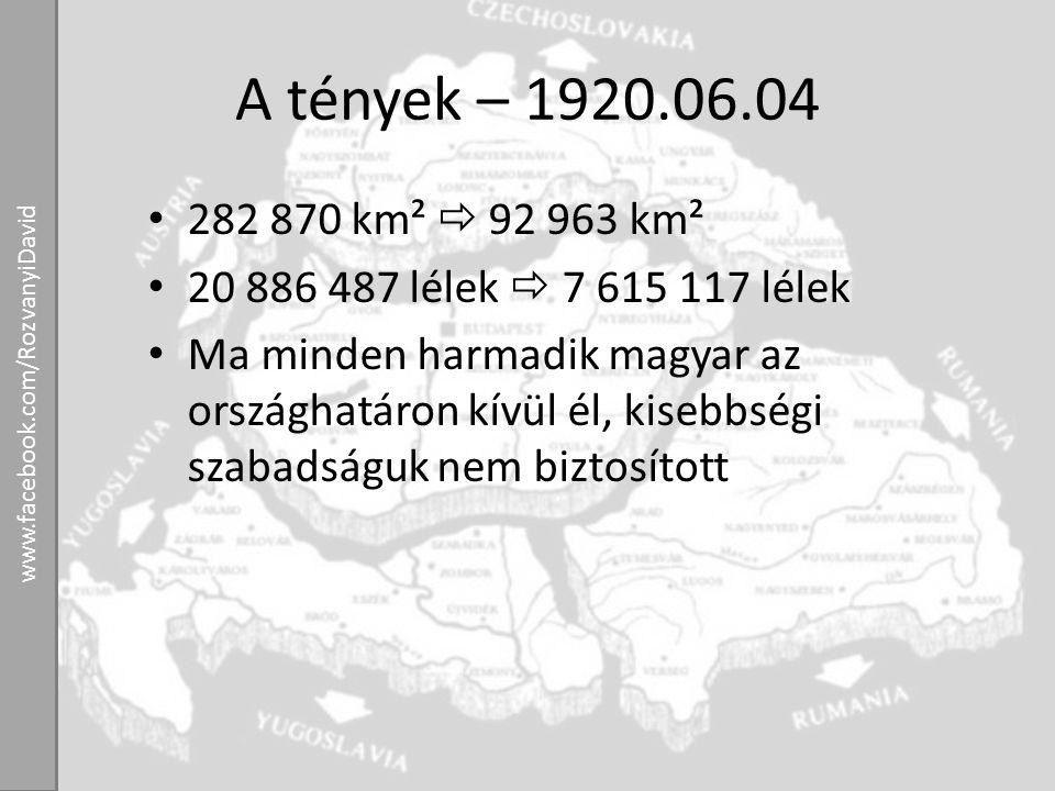 A tények – 1920.06.04 282 870 km²  92 963 km² 20 886 487 lélek  7 615 117 lélek Ma minden harmadik magyar az országhatáron kívül él, kisebbségi szab