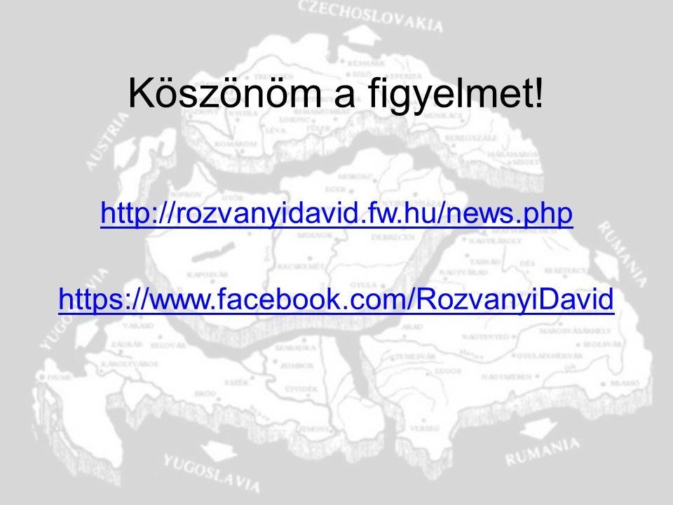 Köszönöm a figyelmet! http://rozvanyidavid.fw.hu/news.php https://www.facebook.com/RozvanyiDavid
