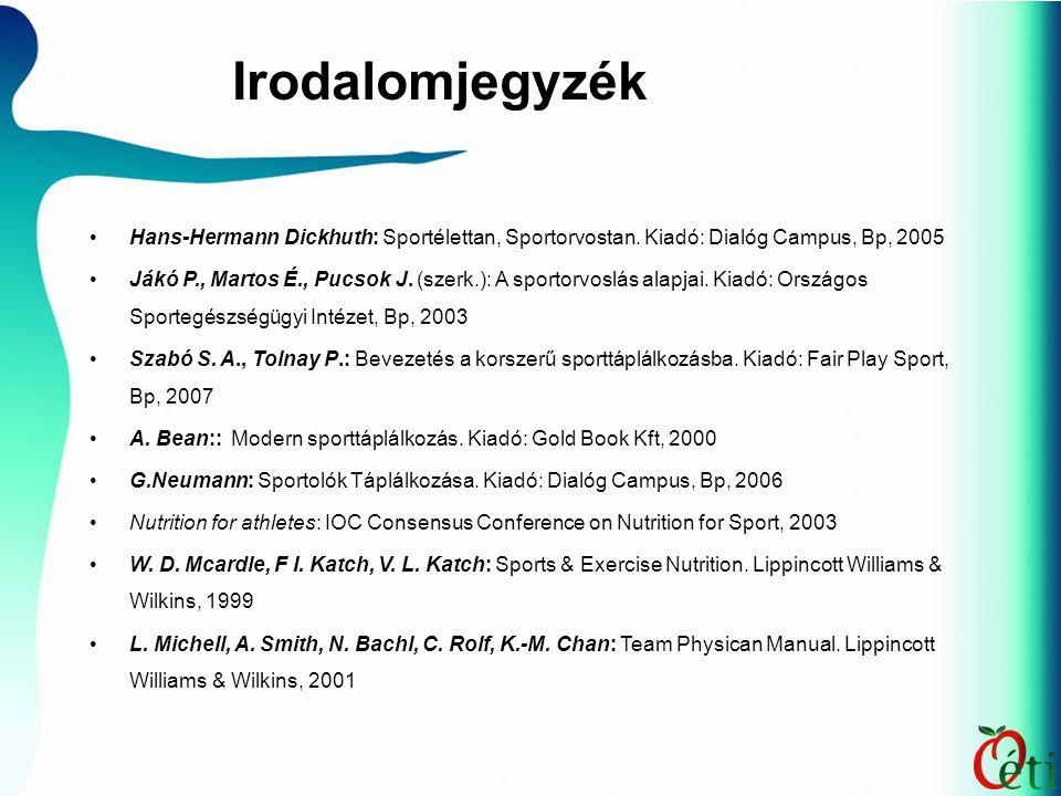 Hans-Hermann Dickhuth: Sportélettan, Sportorvostan. Kiadó: Dialóg Campus, Bp, 2005 Jákó P., Martos É., Pucsok J. (szerk.): A sportorvoslás alapjai. Ki