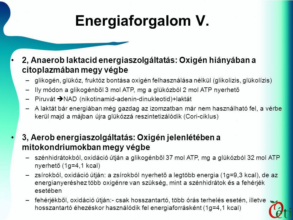Energiaforgalom V. 2, Anaerob laktacid energiaszolgáltatás: Oxigén hiányában a citoplazmában megy végbe –glikogén, glükóz, fruktóz bontása oxigén felh