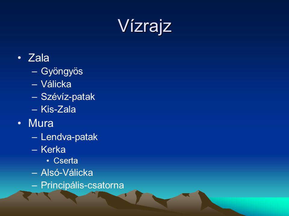 Vízrajz Zala –Gyöngyös –Válicka –Szévíz-patak –Kis-Zala Mura –Lendva-patak –Kerka Cserta –Alsó-Válicka –Principális-csatorna
