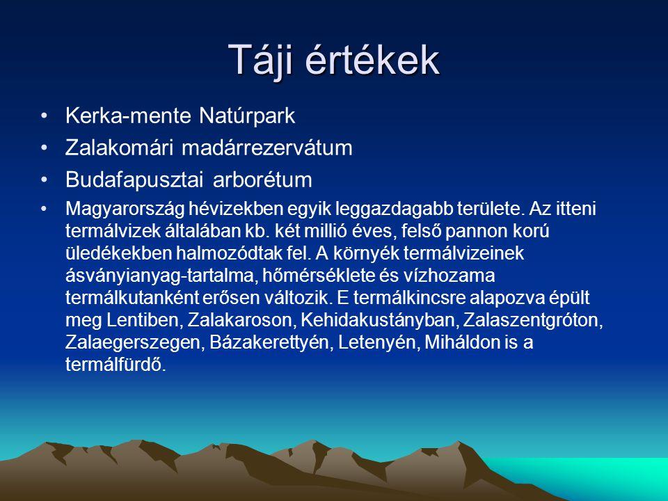 Táji értékek Kerka-mente Natúrpark Zalakomári madárrezervátum Budafapusztai arborétum Magyarország hévizekben egyik leggazdagabb területe. Az itteni t