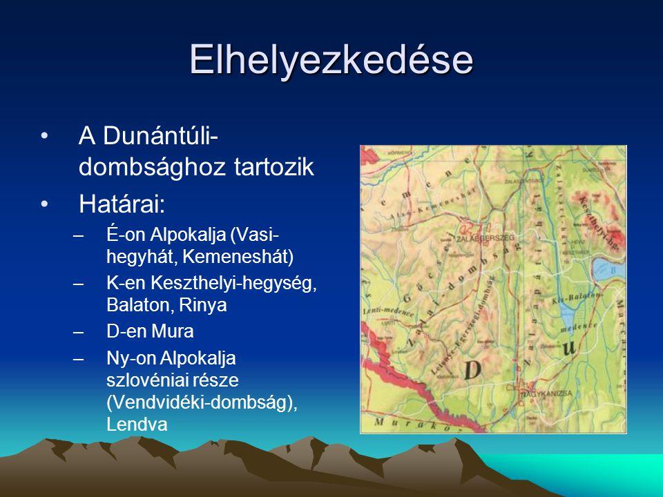 Elhelyezkedése A Dunántúli- dombsághoz tartozik Határai: –É-on Alpokalja (Vasi- hegyhát, Kemeneshát) –K-en Keszthelyi-hegység, Balaton, Rinya –D-en Mu