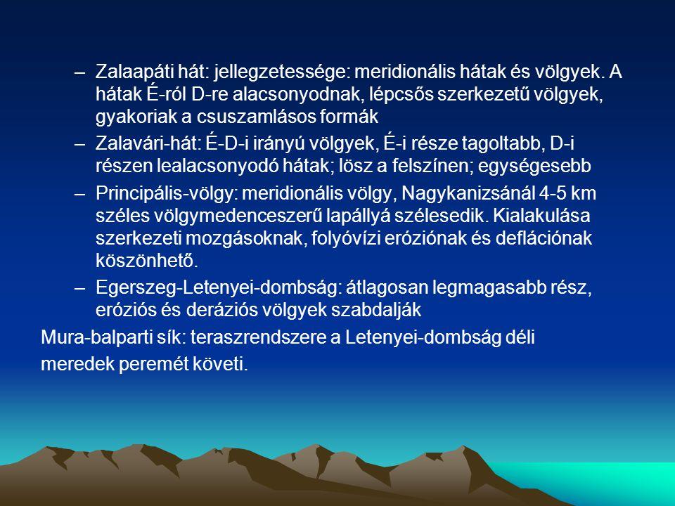 –Zalaapáti hát: jellegzetessége: meridionális hátak és völgyek. A hátak É-ról D-re alacsonyodnak, lépcsős szerkezetű völgyek, gyakoriak a csuszamlásos