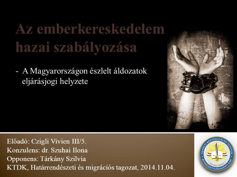 - A Magyarországon észlelt áldozatok eljárásjogi helyzete Előadó: Czigli Vivien III/5. Konzulens: dr. Szuhai Ilona Opponens: Tárkány Szilvia KTDK, Hat