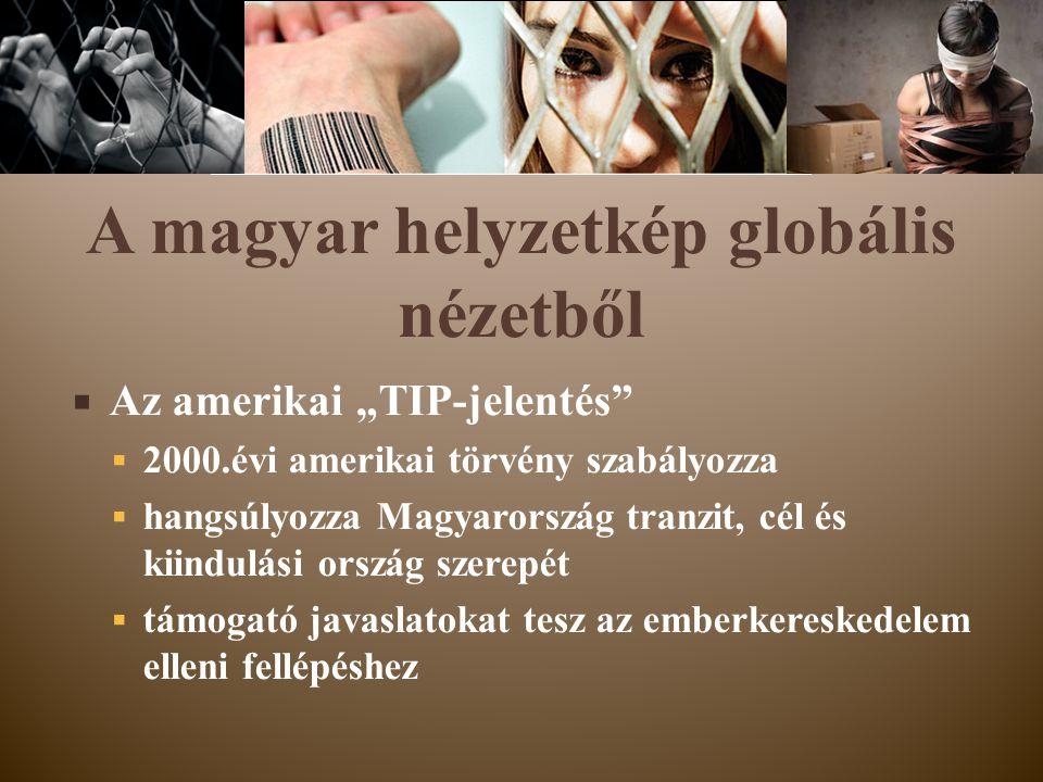 """ Az amerikai """"TIP-jelentés""""  2000.évi amerikai törvény szabályozza  hangsúlyozza Magyarország tranzit, cél és kiindulási ország szerepét  támogató"""