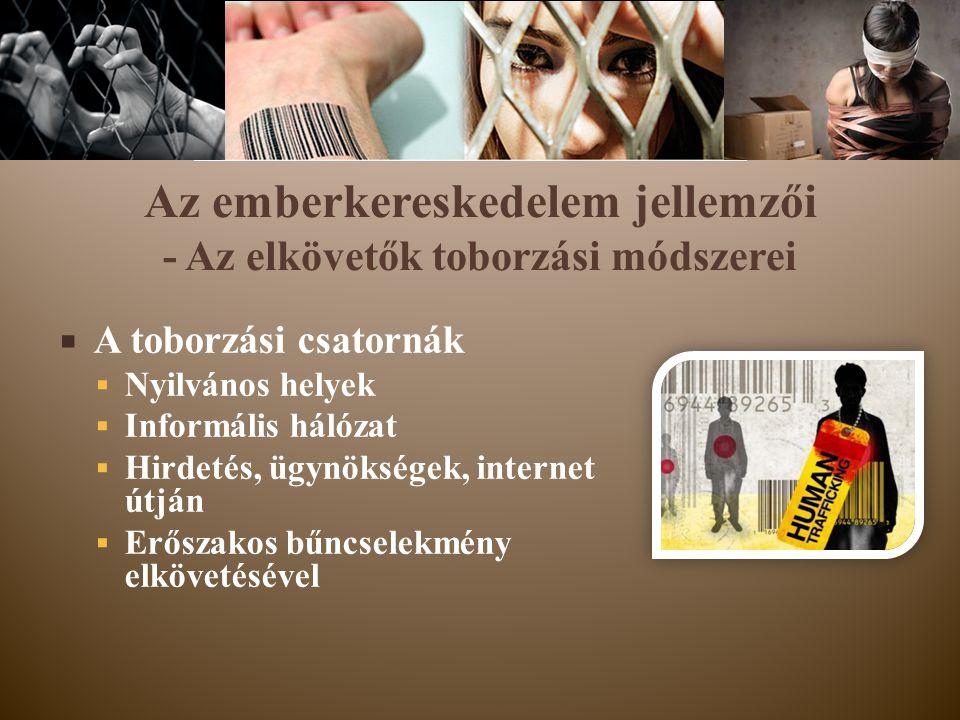 Az emberkereskedelem jellemzői - Az elkövetők toborzási módszerei  A toborzási csatornák  Nyilvános helyek  Informális hálózat  Hirdetés, ügynöksé