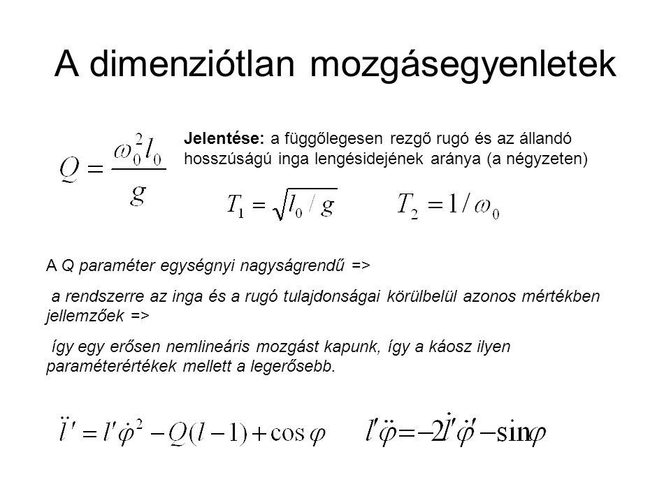 A dimenziótlan mozgásegyenletek Jelentése: a függőlegesen rezgő rugó és az állandó hosszúságú inga lengésidejének aránya (a négyzeten) A Q paraméter e