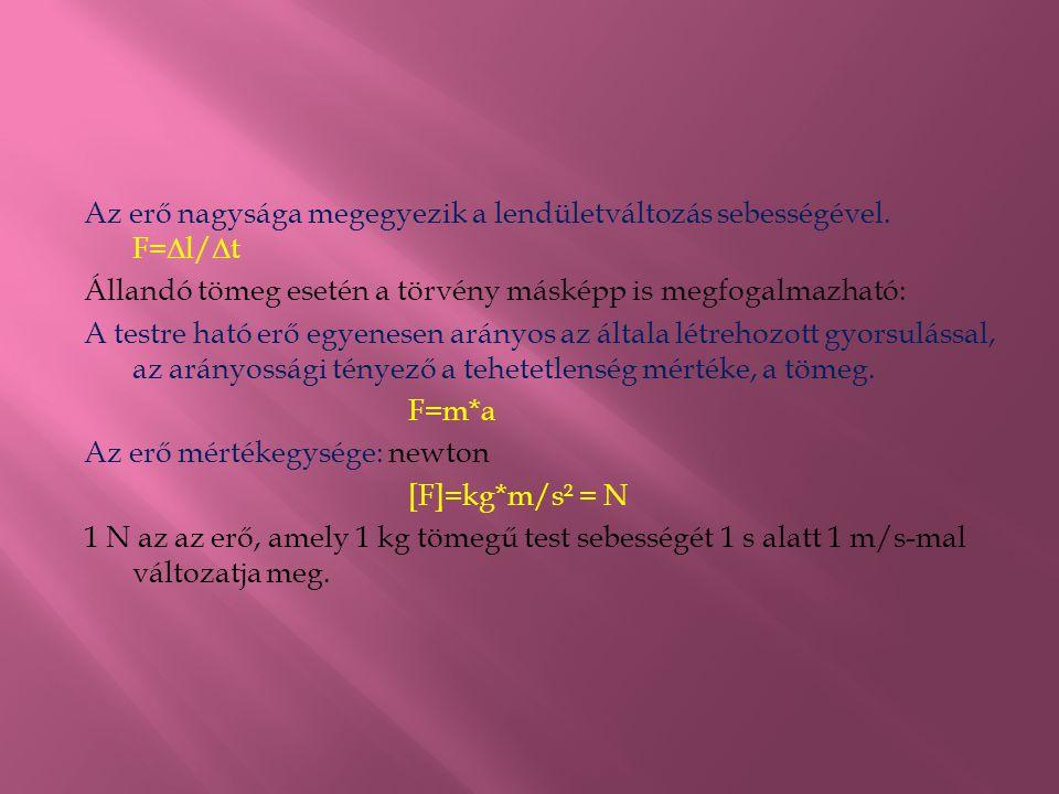 Az erő nagysága megegyezik a lendületváltozás sebességével. F= Δ l/ Δ t Állandó tömeg esetén a törvény másképp is megfogalmazható: A testre ható erő e