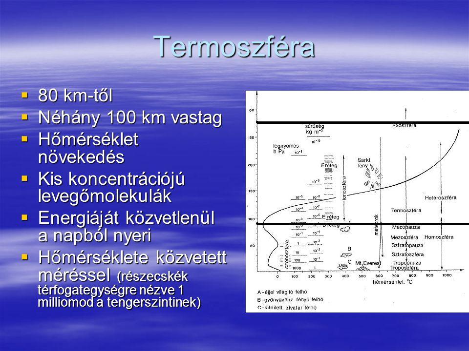 Termoszféra  80 km-től  Néhány 100 km vastag  Hőmérséklet növekedés  Kis koncentrációjú levegőmolekulák  Energiáját közvetlenül a napból nyeri 