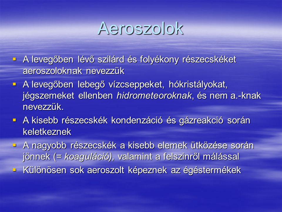 Aeroszolok  A levegőben lévő szilárd és folyékony részecskéket aeroszoloknak nevezzük  A levegőben lebegő vízcseppeket, hókristályokat, jégszemeket