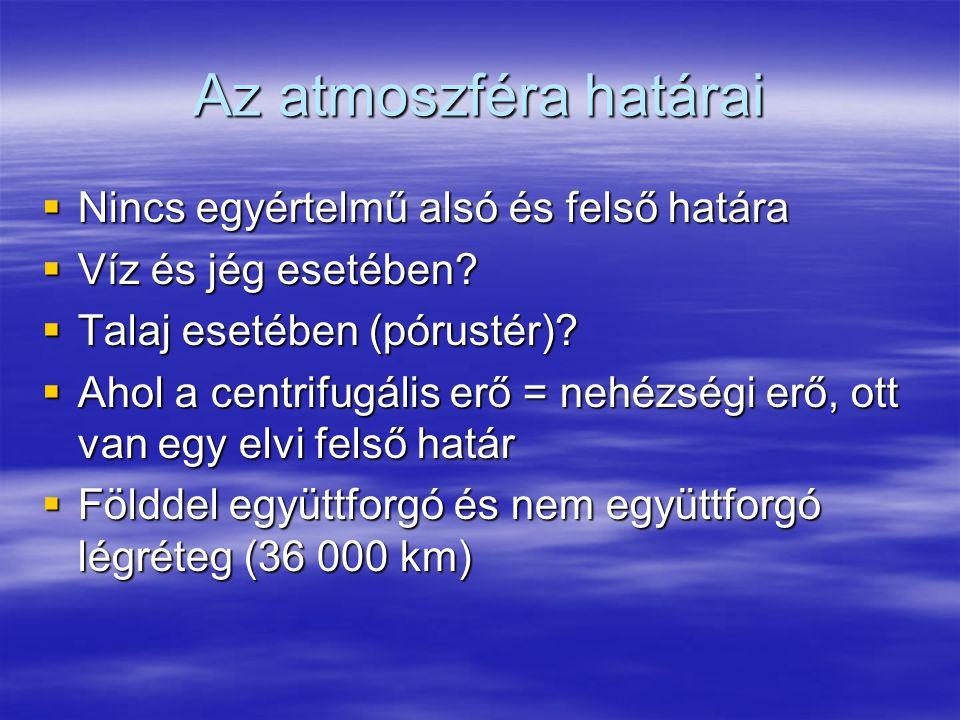 Az atmoszféra határai  Nincs egyértelmű alsó és felső határa  Víz és jég esetében?  Talaj esetében (pórustér)?  Ahol a centrifugális erő = nehézsé