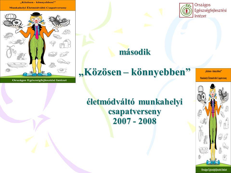 """második """"Közösen – könnyebben"""" életmódváltó munkahelyi csapatverseny 2007 - 2008"""