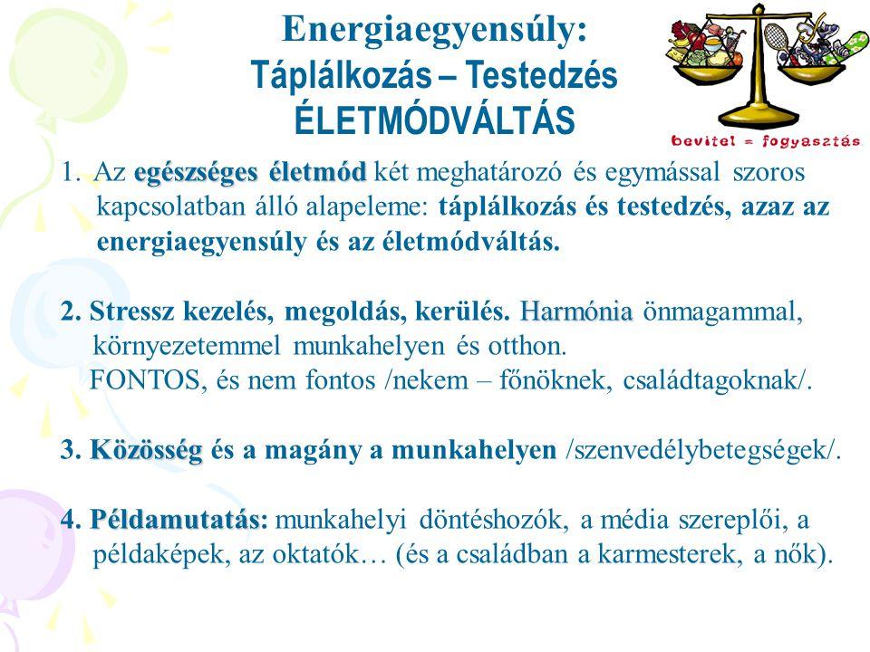 Energiaegyensúly: Táplálkozás – Testedzés ÉLETMÓDVÁLTÁS 1.egészséges életmód 1.Az egészséges életmód két meghatározó és egymással szoros kapcsolatban álló alapeleme: táplálkozás és testedzés, azaz az energiaegyensúly és az életmódváltás.