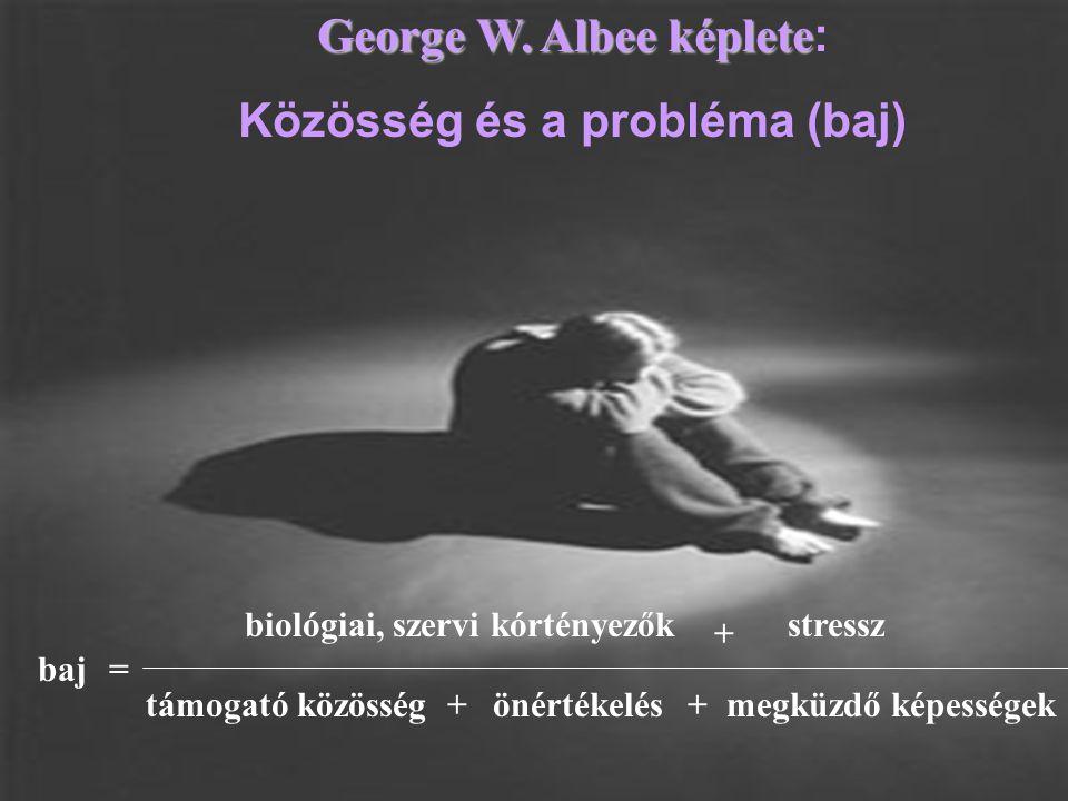 baj= biológiai, szervi kórtényezők + stressz támogató közösségönértékelésmegküzdő képességek++ George W. Albee képlete George W. Albee képlete : Közös