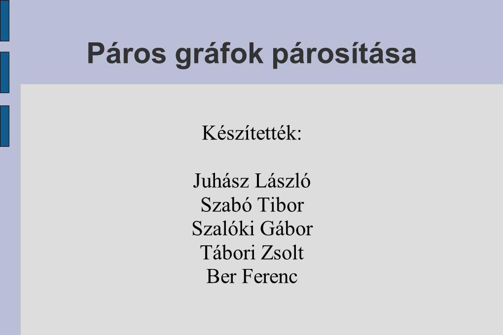 Páros gráfok párosítása Készítették: Juhász László Szabó Tibor Szalóki Gábor Tábori Zsolt Ber Ferenc