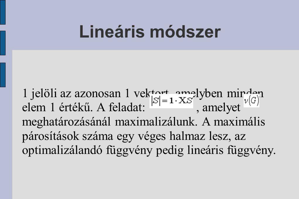 Lineáris módszer 1 jelöli az azonosan 1 vektort, amelyben minden elem 1 értékű.