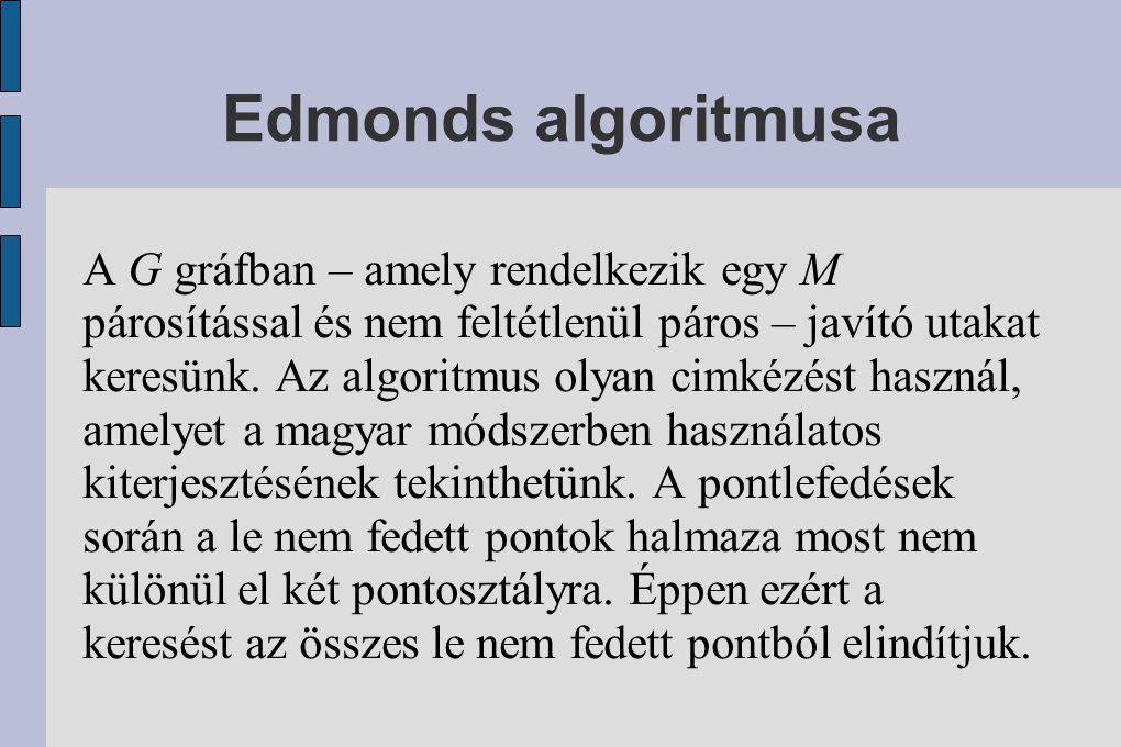 Edmonds algoritmusa A G gráfban – amely rendelkezik egy M párosítással és nem feltétlenül páros – javító utakat keresünk.