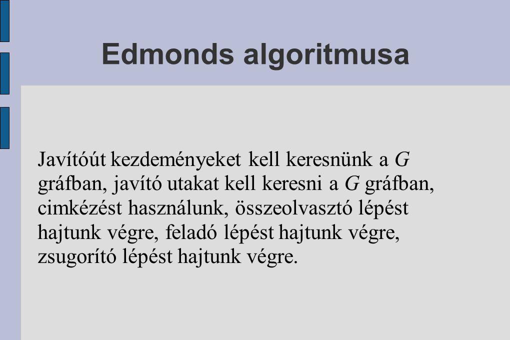 Edmonds algoritmusa Javítóút kezdeményeket kell keresnünk a G gráfban, javító utakat kell keresni a G gráfban, cimkézést használunk, összeolvasztó lépést hajtunk végre, feladó lépést hajtunk végre, zsugorító lépést hajtunk végre.