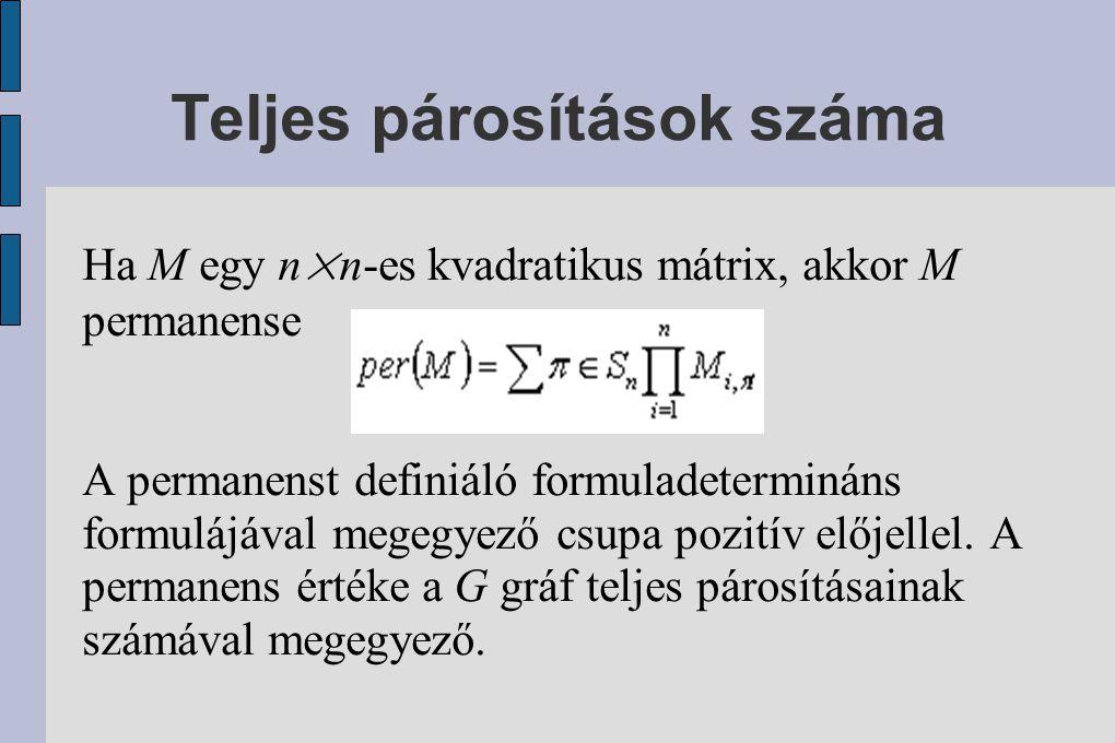 Teljes párosítások száma Ha M egy n×n-es kvadratikus mátrix, akkor M permanense A permanenst definiáló formuladetermináns formulájával megegyező csupa pozitív előjellel.