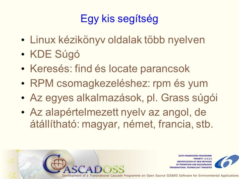 Egy kis segítség Linux kézikönyv oldalak több nyelven KDE Súgó Keresés: find és locate parancsok RPM csomagkezeléshez: rpm és yum Az egyes alkalmazások, pl.