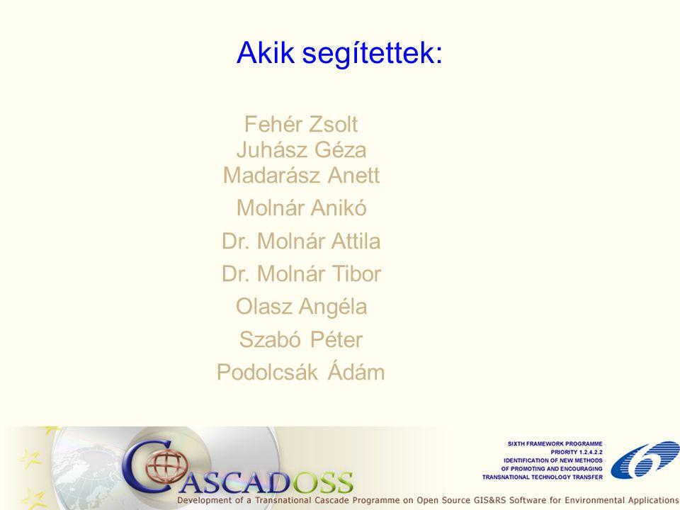 Akik segítettek: Fehér Zsolt Juhász Géza Madarász Anett Molnár Anikó Dr.