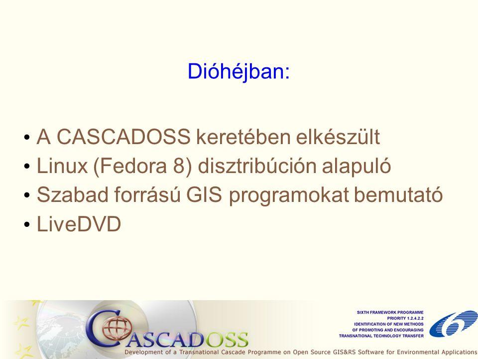 Dióhéjban: A CASCADOSS keretében elkészült Linux (Fedora 8) disztribúción alapuló Szabad forrású GIS programokat bemutató LiveDVD