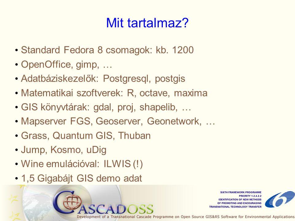 Mit tartalmaz. Standard Fedora 8 csomagok: kb.