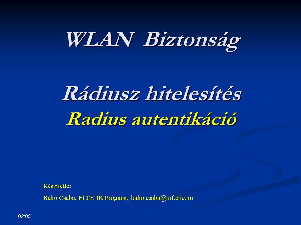 02:07 Tartalom InfrastruktúraInfrastruktúra Windows mint WLAN kliensWindows mint WLAN kliens WLAN BiztonságWLAN Biztonság Beépített protokollokBeépített protokollok Radius-al hitelesített kliensekRadius-al hitelesített kliensek Radius telepítés, beállításRadius telepítés, beállítás