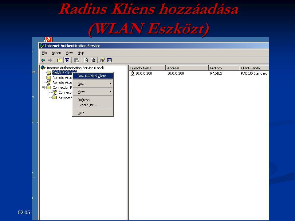 02:07 Radius Kliens hozzáadása (WLAN Eszközt)