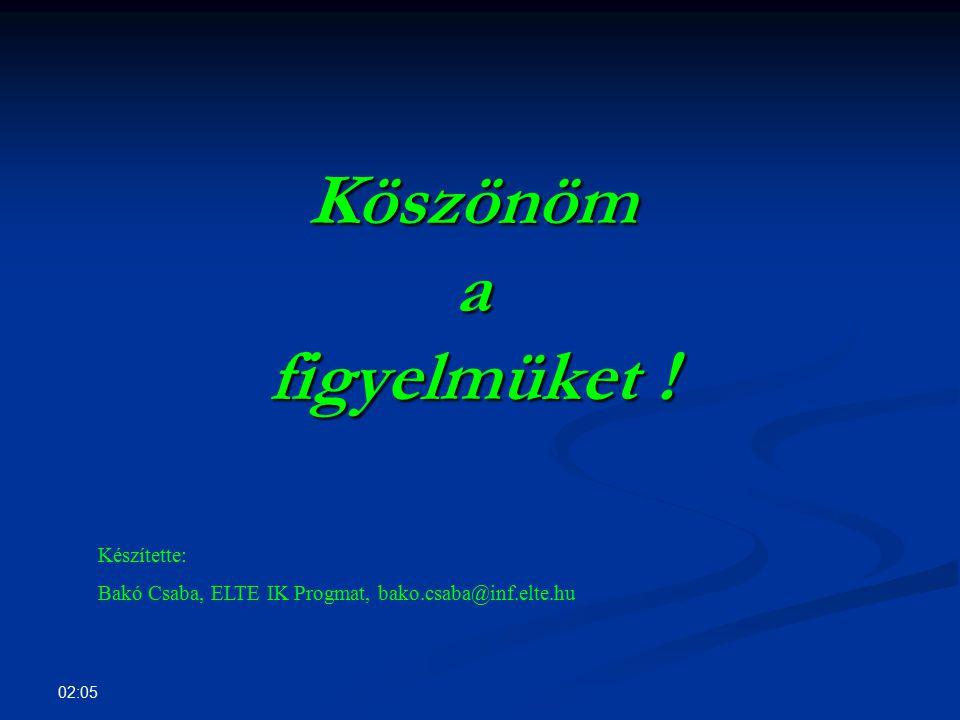 02:07 Köszönöm a figyelmüket ! Készítette: Bakó Csaba, ELTE IK Progmat, bako.csaba@inf.elte.hu