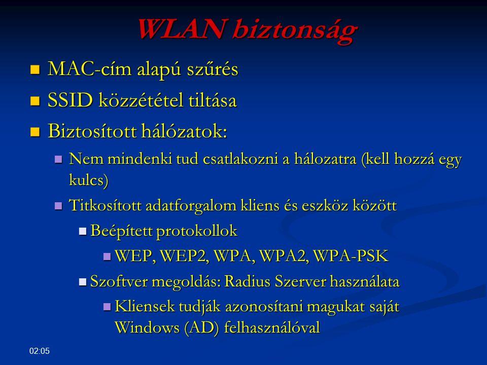 02:07 WLAN autentikáció Windows Radius Server használatával Active Directory (AD) Active Directory (AD) Windows Certificate Services vagy egy meglévő tanúsítvány Windows Certificate Services vagy egy meglévő tanúsítvány Radius Server telepítése és regisztrálása AD-ben Radius Server telepítése és regisztrálása AD-ben Radius Server házirend: fogadja a 802.1x klienseket Radius Server házirend: fogadja a 802.1x klienseket WLAN eszköz hozzáadása mint Radius kliens.