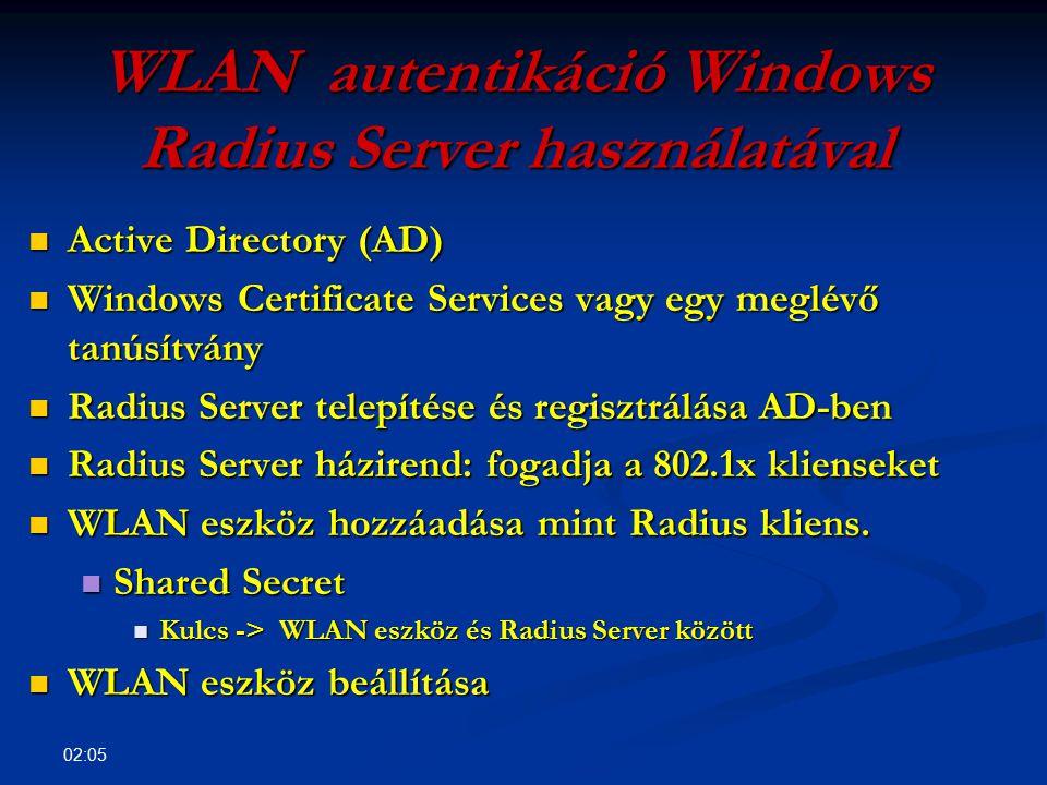 02:07 DEMO Radius Server telepítése és regisztrálása AD- ben Radius Server telepítése és regisztrálása AD- ben Radius Server házirend: fogadja a 802.1x klienseket Radius Server házirend: fogadja a 802.1x klienseket WLAN eszköz hozzáadása mint Radius kliens.