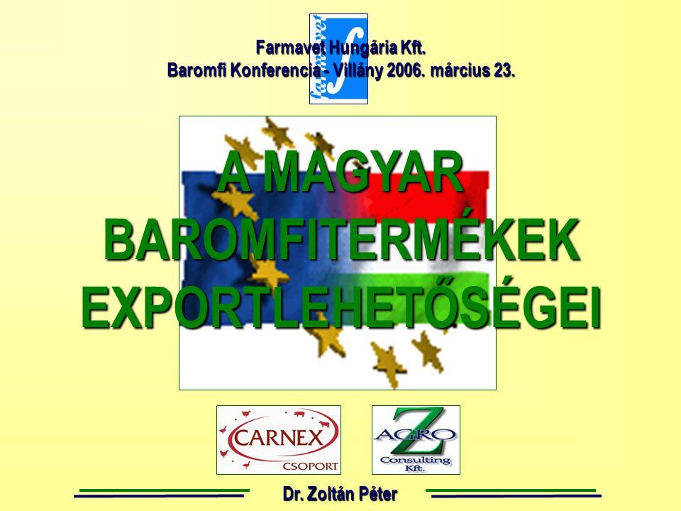 A MAGYAR BAROMFITERMÉKEKEXPORTLEHETŐSÉGEI Dr.Zoltán Péter Farmavet Hungária Kft.