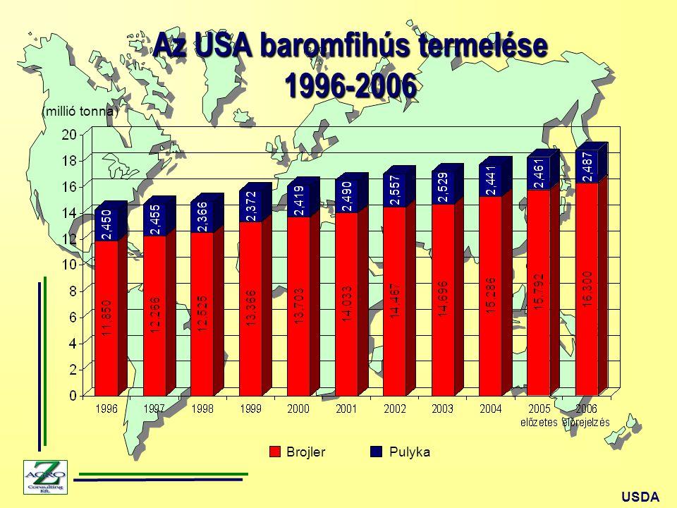 USDA Az USA baromfihús termelése 1996-2006 (millió tonna) BrojlerPulyka