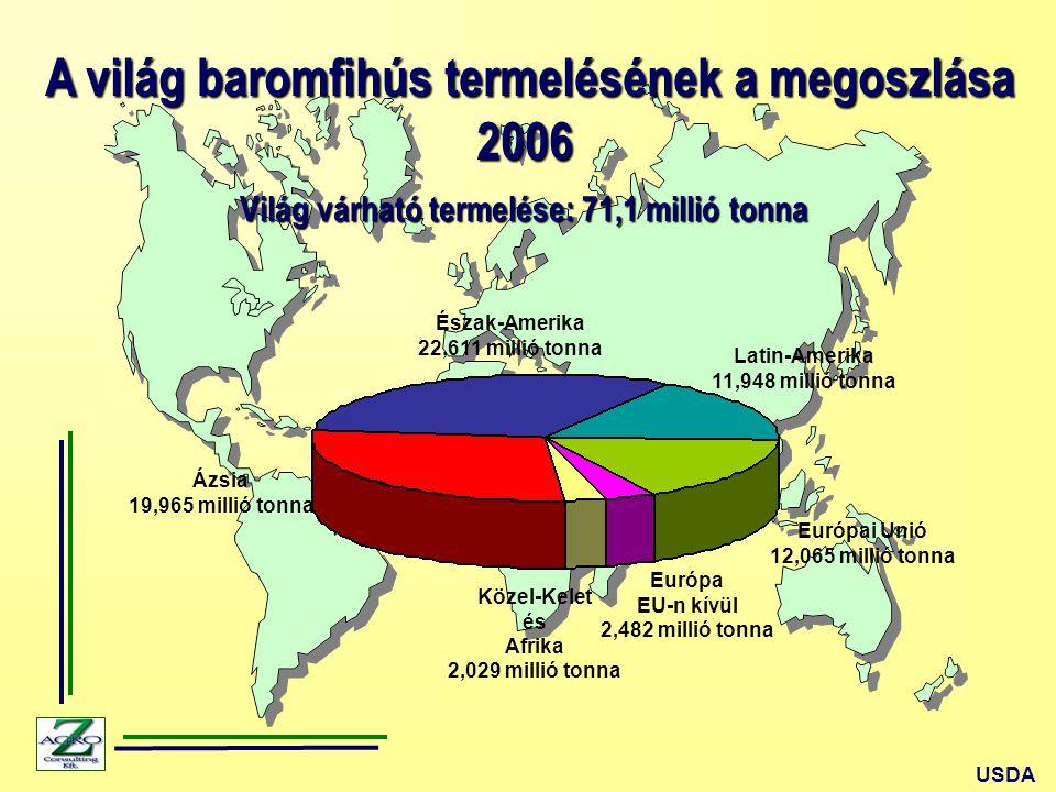 A világ baromfihús termelésének a megoszlása A világ baromfihús termelésének a megoszlása2006 Ázsia 19,965 millió tonna USDA Európai Unió 12,065 millió tonna Latin-Amerika 11,948 millió tonna Európa EU-n kívül 2,482 millió tonna Közel-Kelet és Afrika 2,029 millió tonna Észak-Amerika 22,611 millió tonna Világ várható termelése: 71,1 millió tonna