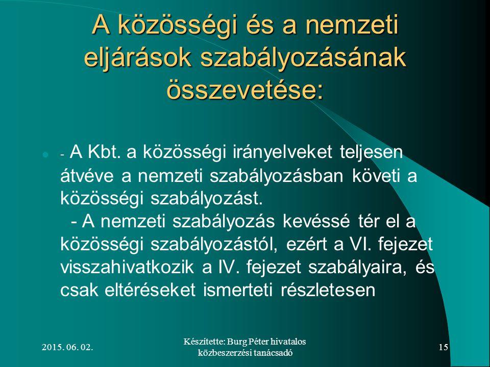 2015. 06. 02. Készítette: Burg Péter hivatalos közbeszerzési tanácsadó 15 A közösségi és a nemzeti eljárások szabályozásának összevetése: - A Kbt. a k
