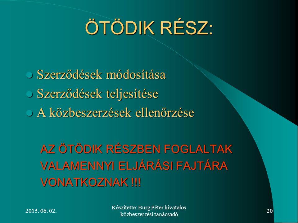 2015. 06. 02. Készítette: Burg Péter hivatalos közbeszerzési tanácsadó 20 ÖTÖDIK RÉSZ: Szerződések módosítása Szerződések módosítása Szerződések telje
