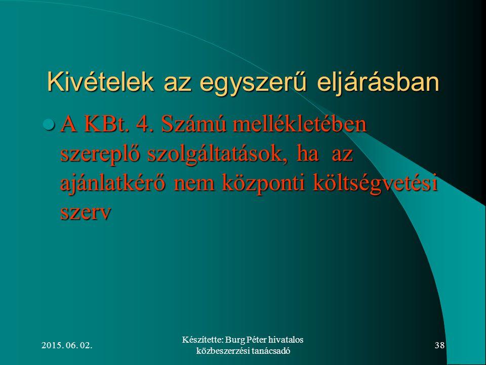 2015. 06. 02. Készítette: Burg Péter hivatalos közbeszerzési tanácsadó 38 Kivételek az egyszerű eljárásban A KBt. 4. Számú mellékletében szereplő szol