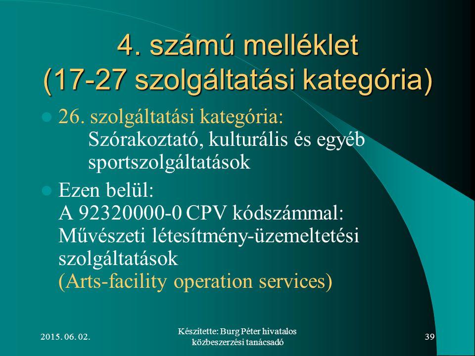 2015. 06. 02. Készítette: Burg Péter hivatalos közbeszerzési tanácsadó 39 4. számú melléklet (17-27 szolgáltatási kategória) 26. szolgáltatási kategór