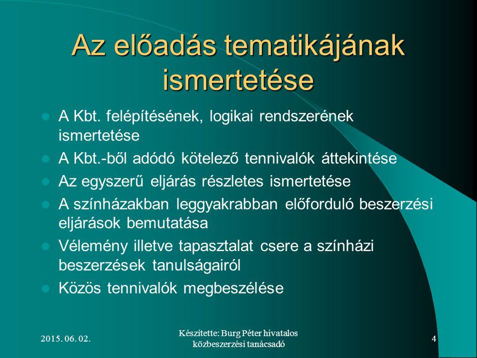 2015. 06. 02. Készítette: Burg Péter hivatalos közbeszerzési tanácsadó 4 Az előadás tematikájának ismertetése A Kbt. felépítésének, logikai rendszerén