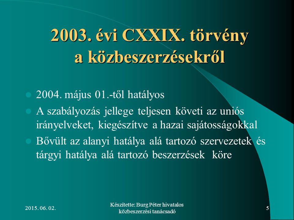 2015. 06. 02. Készítette: Burg Péter hivatalos közbeszerzési tanácsadó 5 2003. évi CXXIX. törvény a közbeszerzésekről 2003. évi CXXIX. törvény a közbe