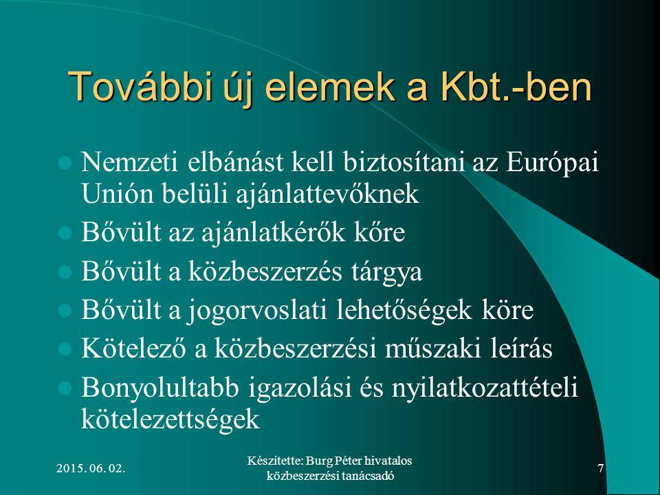 2015. 06. 02. Készítette: Burg Péter hivatalos közbeszerzési tanácsadó 7 További új elemek a Kbt.-ben Nemzeti elbánást kell biztosítani az Európai Uni